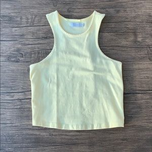 Pastel yellow racer back cropped tank top